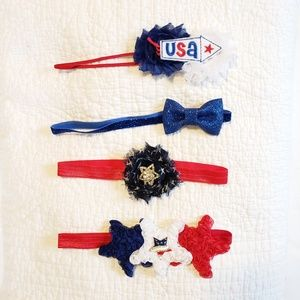 Other - 4 headbands set, patriotic red white & blue